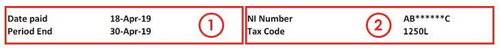 Payslip Sections 1 and 2 (1250L)